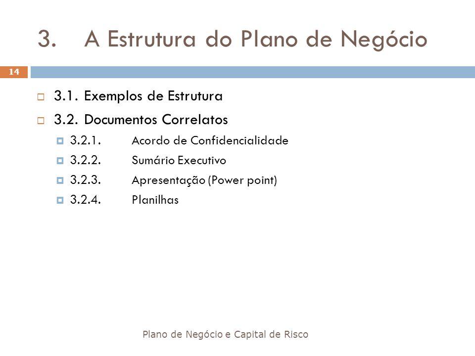3. A Estrutura do Plano de Negócio