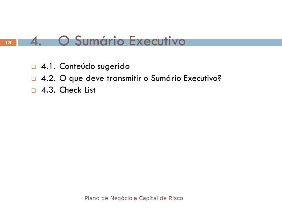 4. O Sumário Executivo 4.1. Conteúdo sugerido
