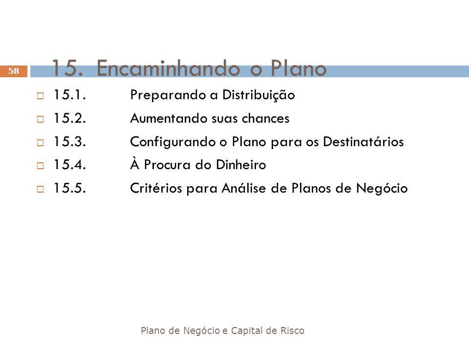 15. Encaminhando o Plano 15.1. Preparando a Distribuição