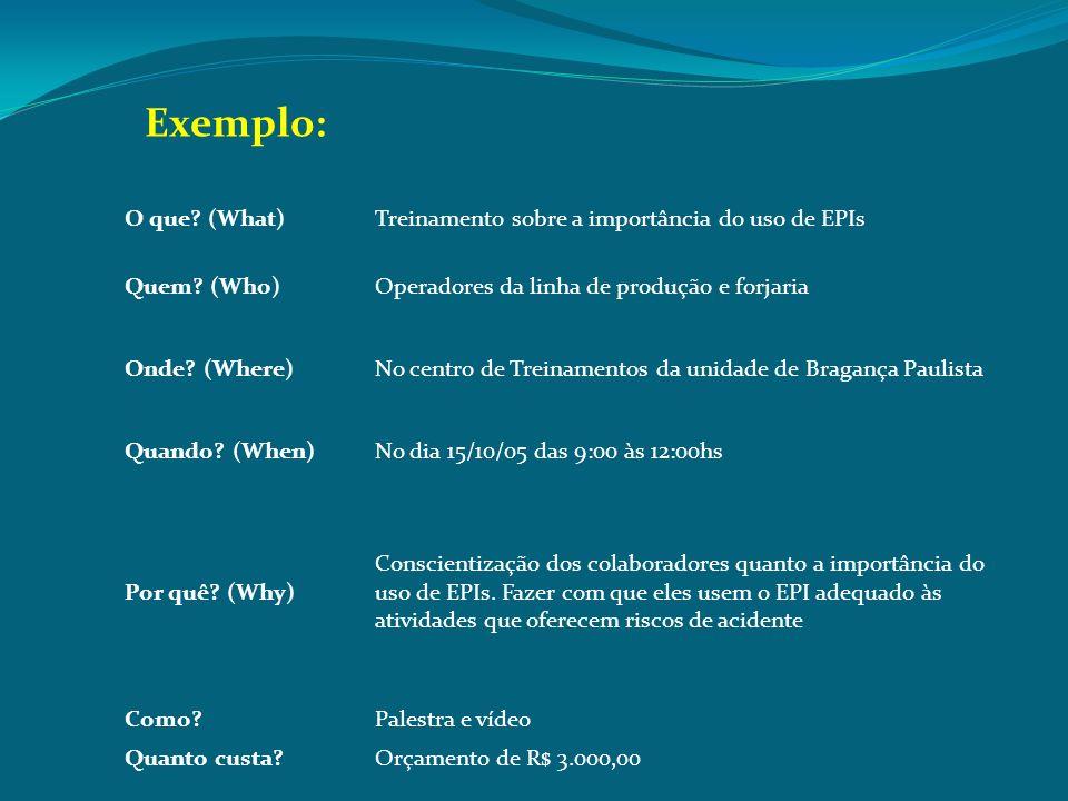 Exemplo: O que (What) Treinamento sobre a importância do uso de EPIs