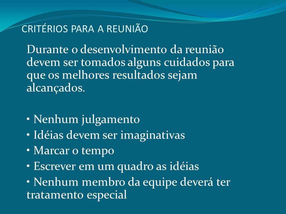 CRITÉRIOS PARA A REUNIÃO