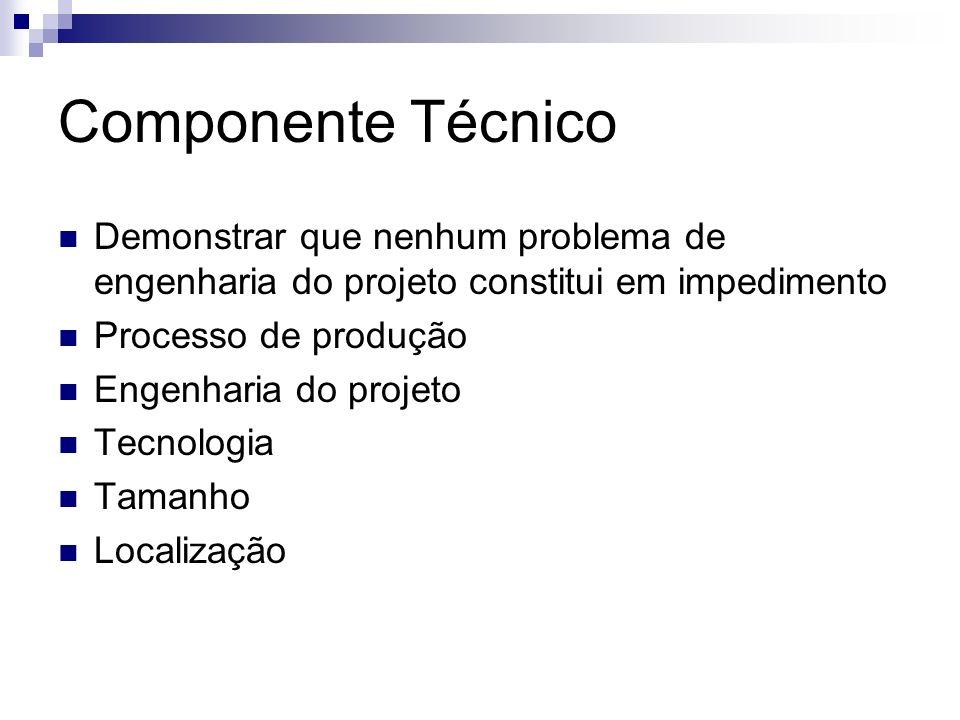 Componente Técnico Demonstrar que nenhum problema de engenharia do projeto constitui em impedimento.