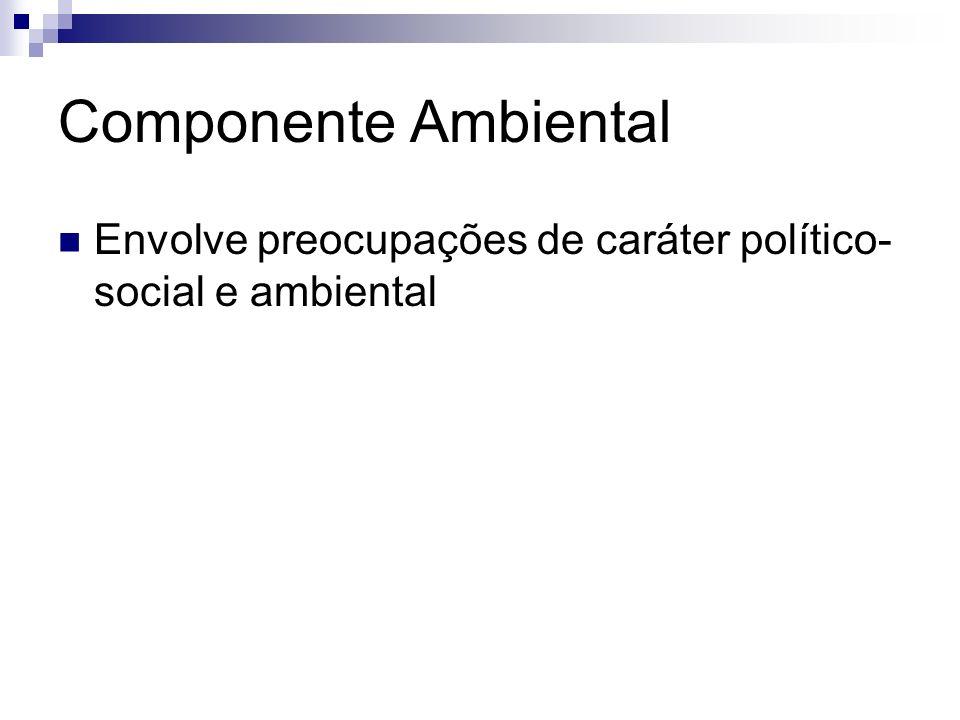 Componente Ambiental Envolve preocupações de caráter político-social e ambiental