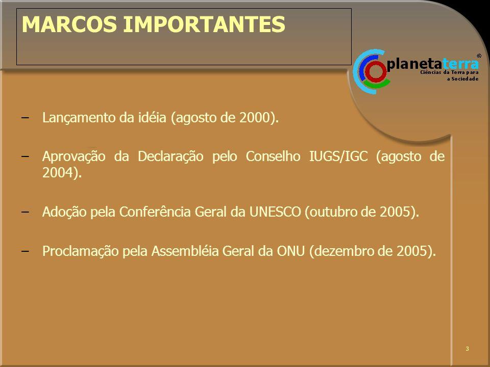 MARCOS IMPORTANTES Lançamento da idéia (agosto de 2000).