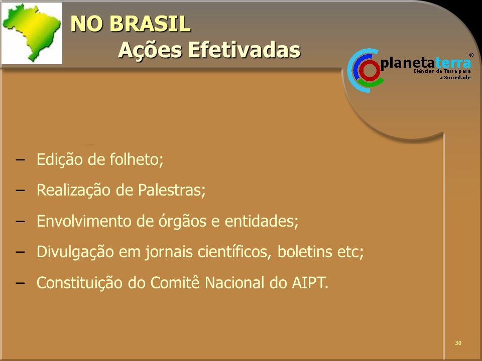 NO BRASIL Ações Efetivadas
