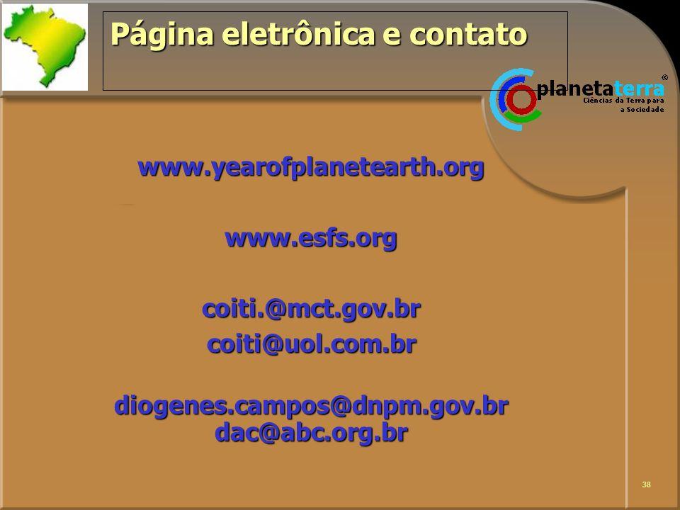 Página eletrônica e contato
