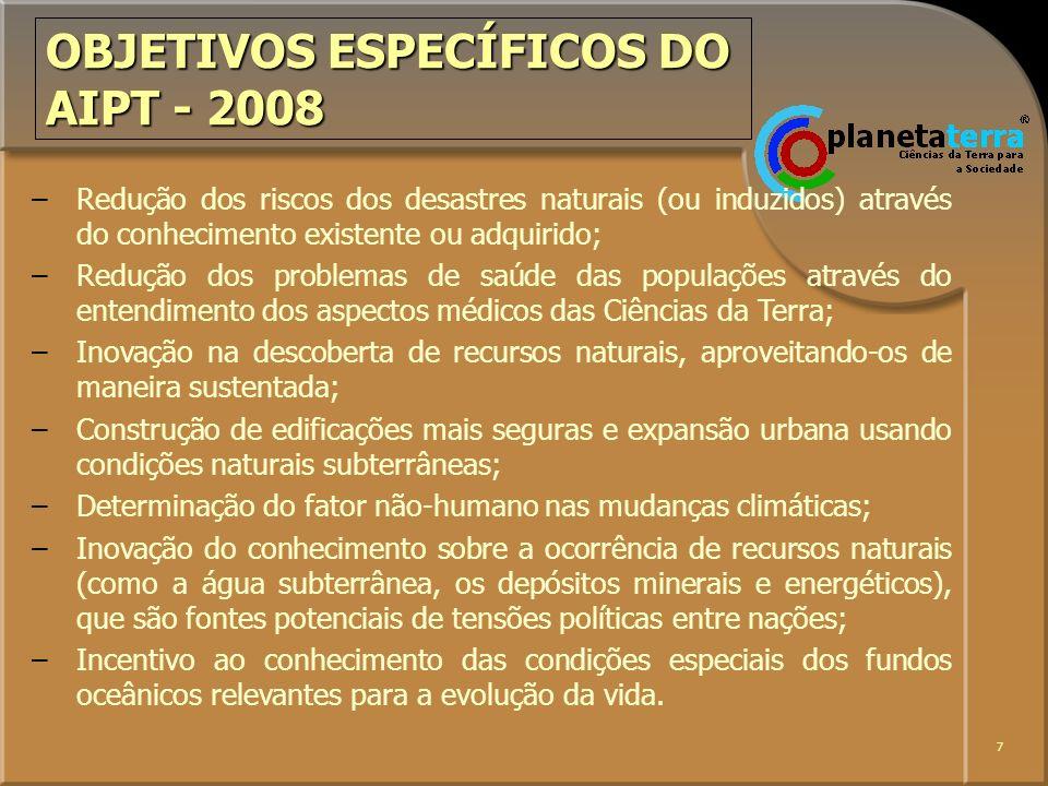 OBJETIVOS ESPECÍFICOS DO AIPT - 2008