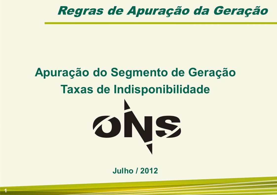 Apuração do Segmento de Geração Taxas de Indisponibilidade