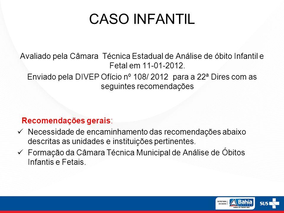 CASO INFANTILAvaliado pela Câmara Técnica Estadual de Análise de óbito Infantil e Fetal em 11-01-2012.