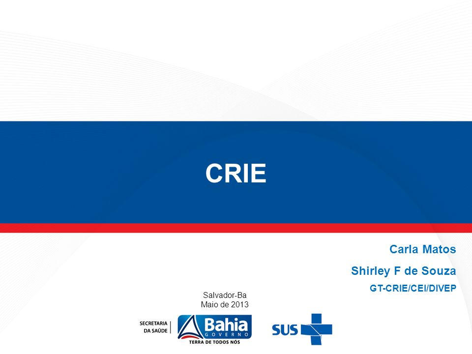 CRIE Carla Matos Shirley F de Souza GT-CRIE/CEI/DIVEP Salvador-Ba