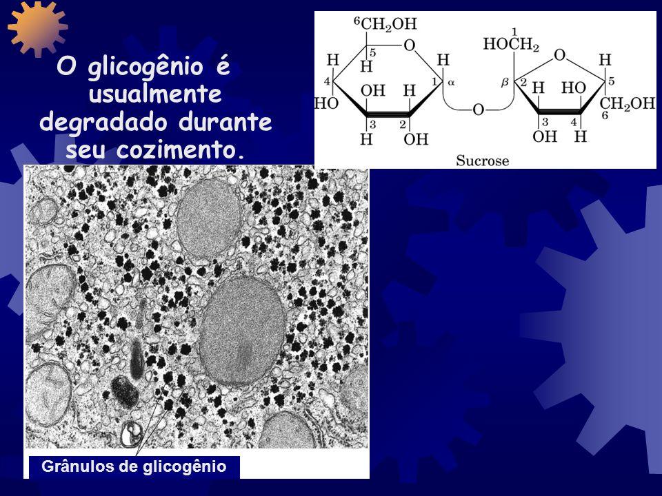 O glicogênio é usualmente degradado durante seu cozimento.