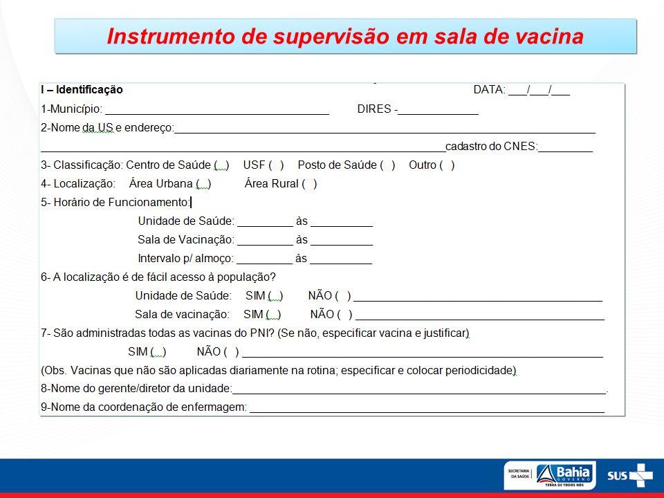 Instrumento de supervisão em sala de vacina
