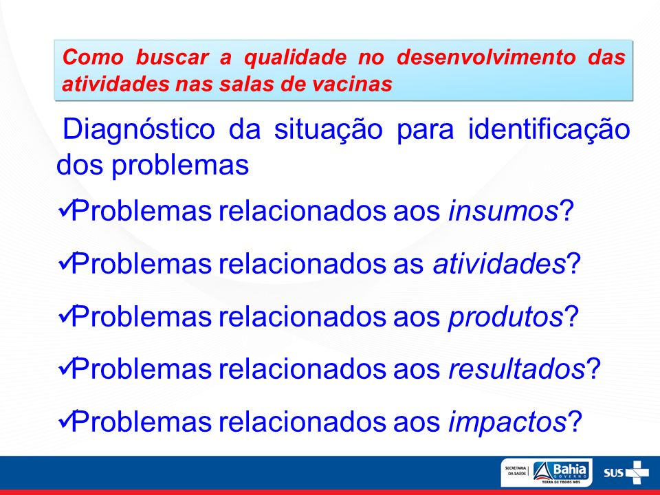 Problemas relacionados aos insumos