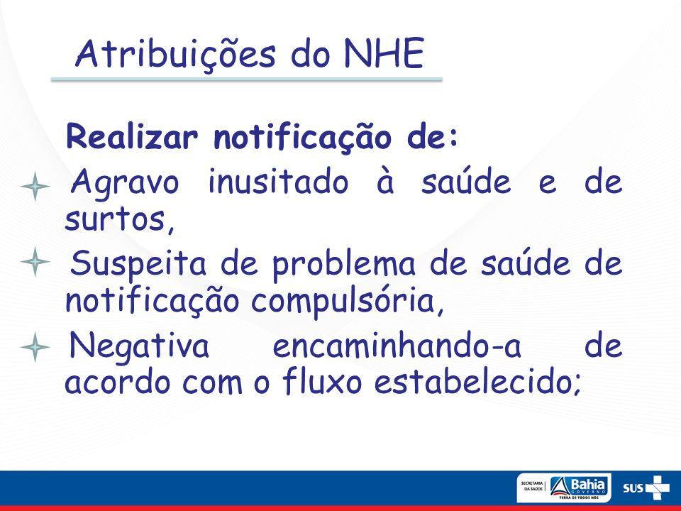 Atribuições do NHE Agravo inusitado à saúde e de surtos,