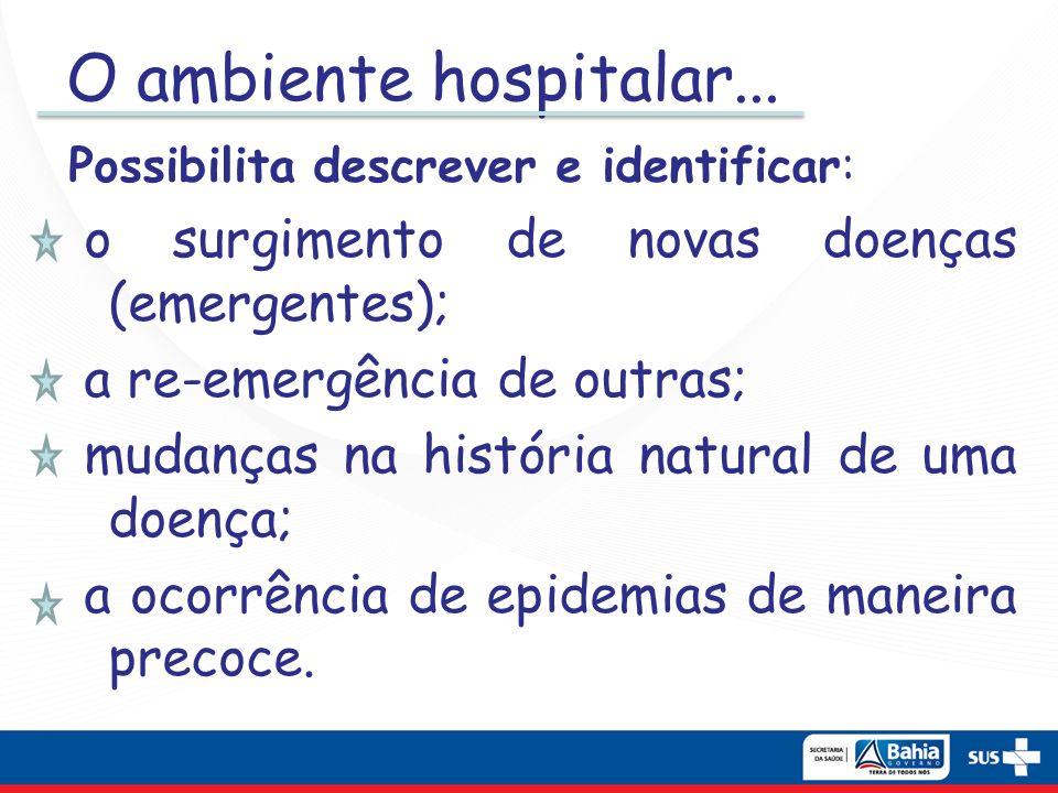 O ambiente hospitalar... o surgimento de novas doenças (emergentes);