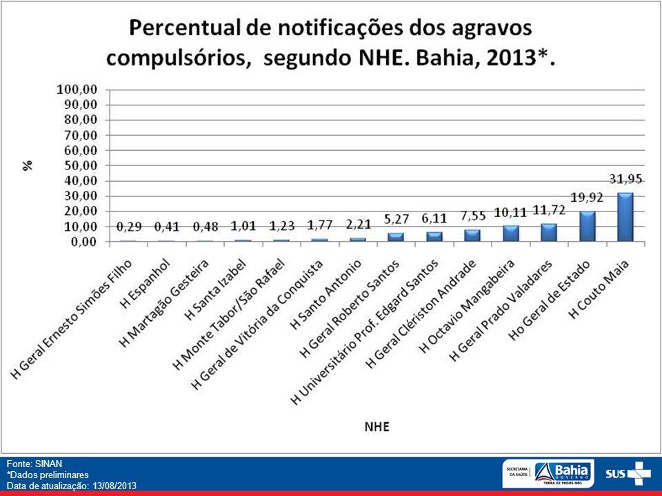 Fonte: SINAN *Dados preliminares Data de atualização: 13/08/2013