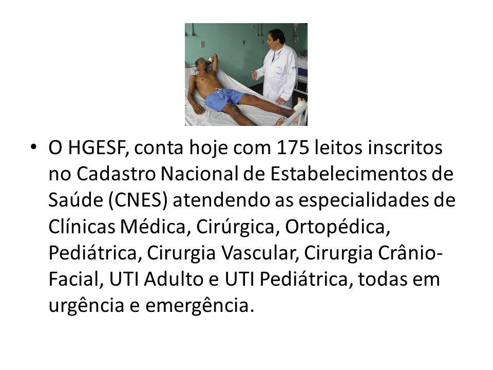 O HGESF, conta hoje com 175 leitos inscritos no Cadastro Nacional de Estabelecimentos de Saúde (CNES) atendendo as especialidades de Clínicas Médica, Cirúrgica, Ortopédica, Pediátrica, Cirurgia Vascular, Cirurgia Crânio-Facial, UTI Adulto e UTI Pediátrica, todas em urgência e emergência.