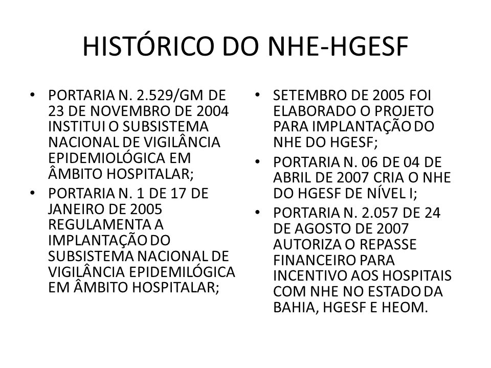HISTÓRICO DO NHE-HGESF