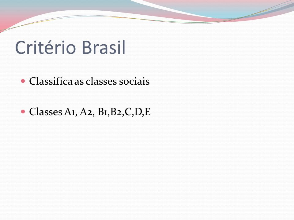 Critério Brasil Classifica as classes sociais