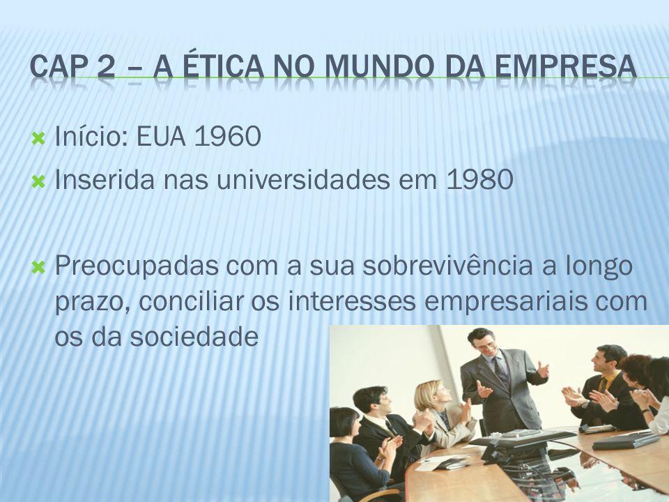 Cap 2 – A ética no mundo da empresa