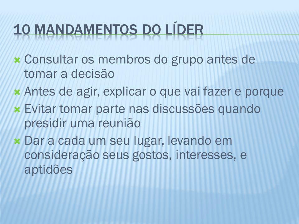 10 mandamentos do líder Consultar os membros do grupo antes de tomar a decisão. Antes de agir, explicar o que vai fazer e porque.