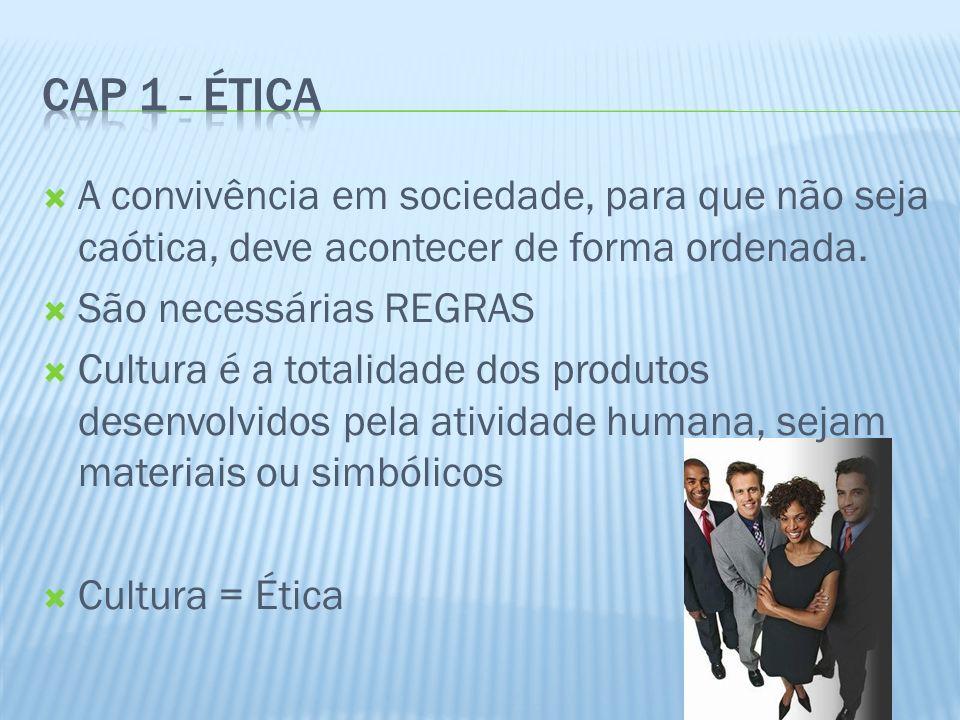 Cap 1 - Ética A convivência em sociedade, para que não seja caótica, deve acontecer de forma ordenada.