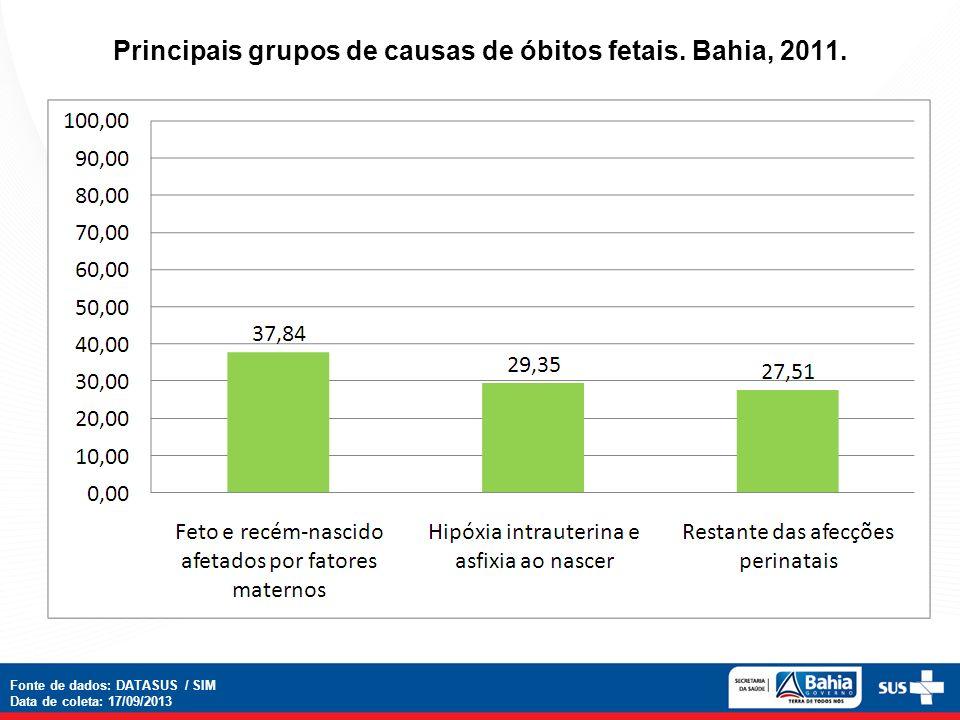 Principais grupos de causas de óbitos fetais. Bahia, 2011.