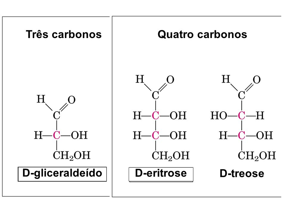 Três carbonos Quatro carbonos D-gliceraldeído D-eritrose D-treose