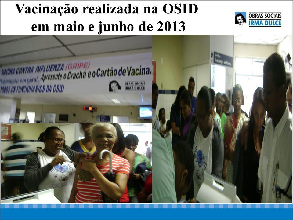 Vacinação realizada na OSID em maio e junho de 2013