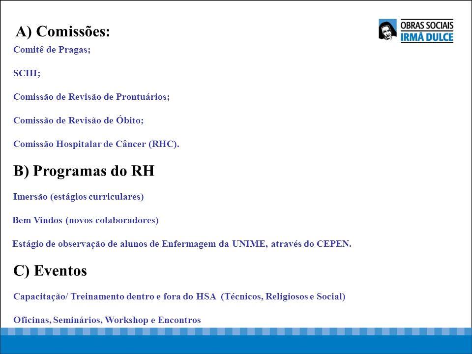A) Comissões: B) Programas do RH C) Eventos Comitê de Pragas; SCIH;