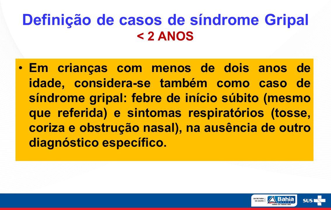Definição de casos de síndrome Gripal < 2 ANOS