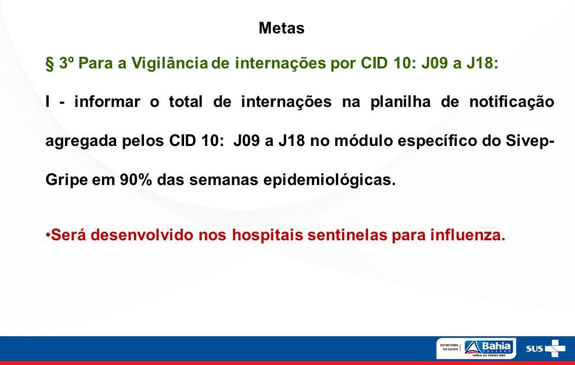 Metas § 3º Para a Vigilância de internações por CID 10: J09 a J18:
