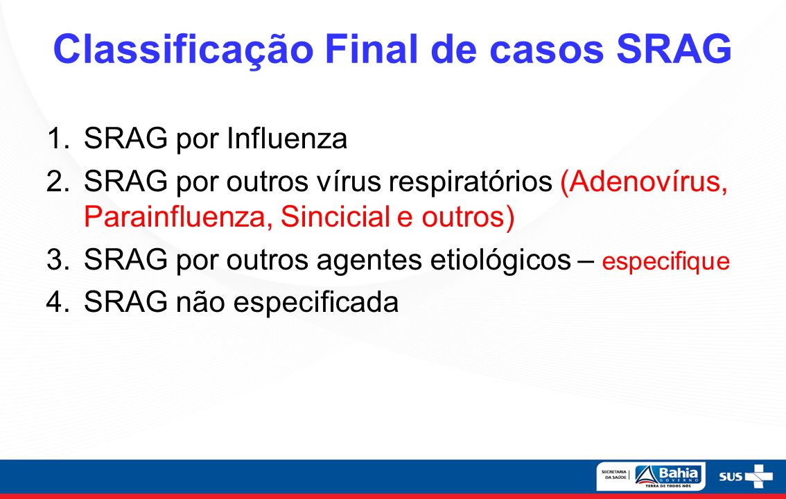 Classificação Final de casos SRAG