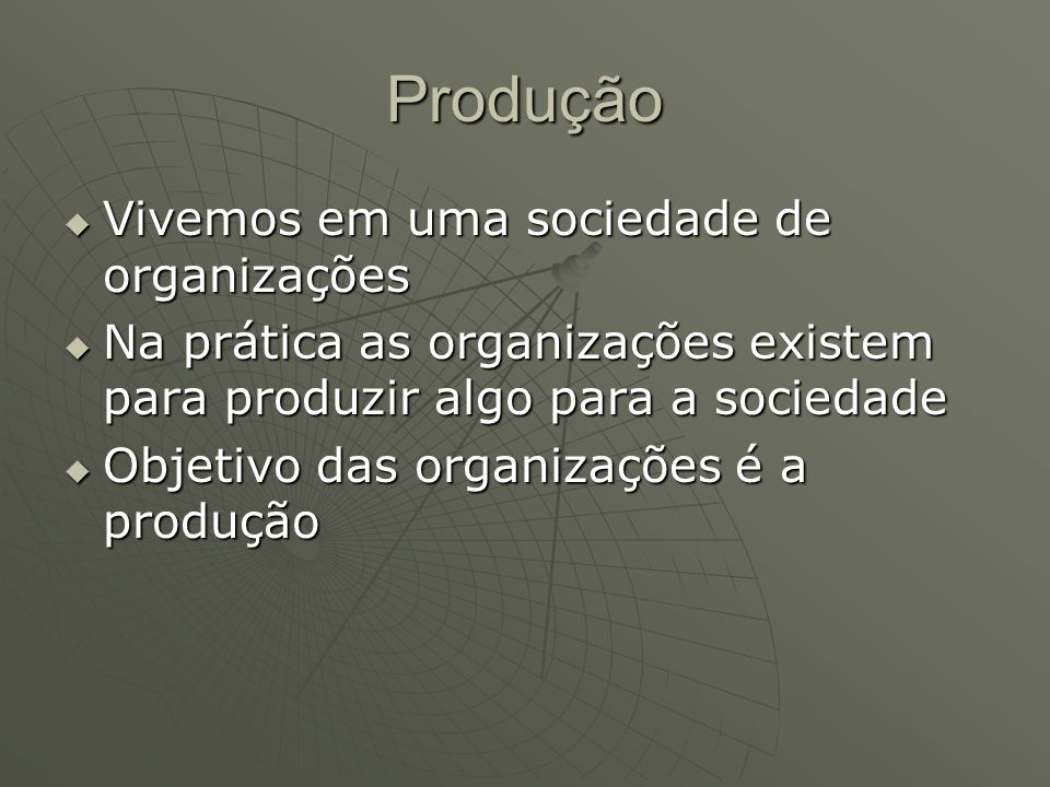 Produção Vivemos em uma sociedade de organizações