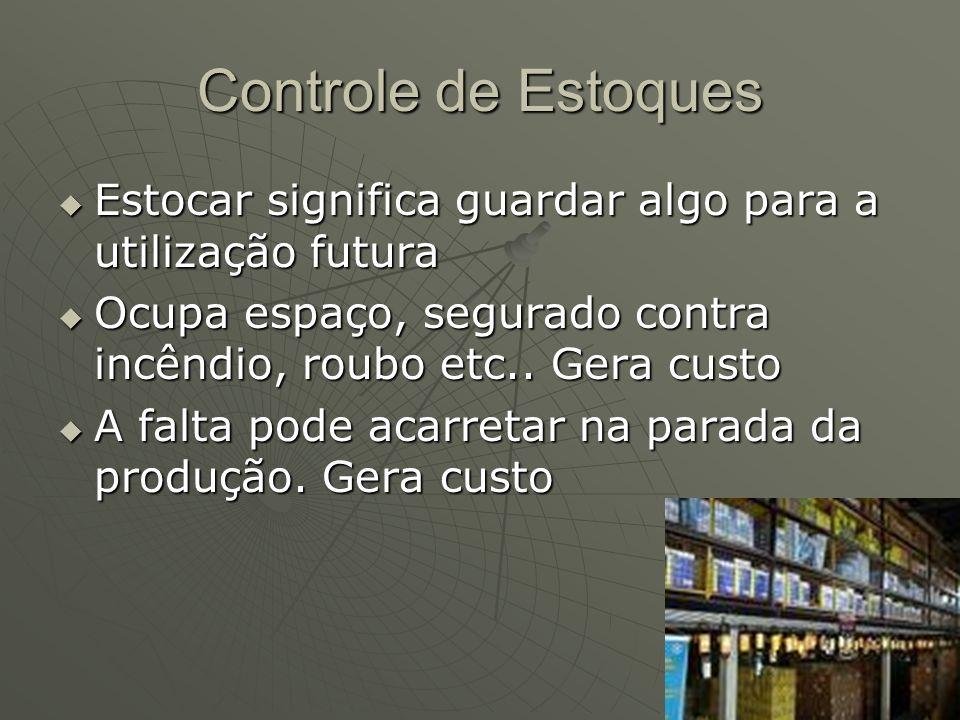 Controle de Estoques Estocar significa guardar algo para a utilização futura. Ocupa espaço, segurado contra incêndio, roubo etc.. Gera custo.