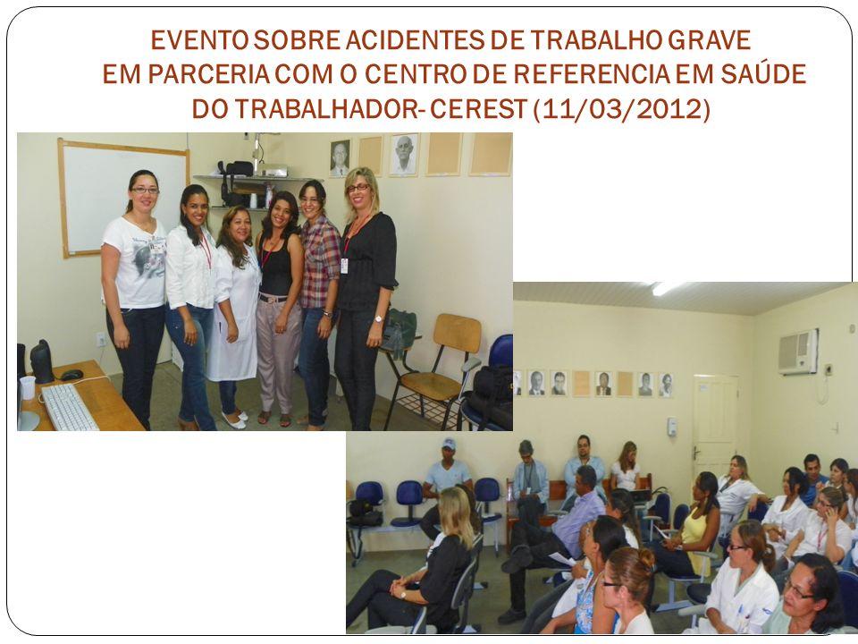EVENTO SOBRE ACIDENTES DE TRABALHO GRAVE EM PARCERIA COM O CENTRO DE REFERENCIA EM SAÚDE DO TRABALHADOR- CEREST (11/03/2012)