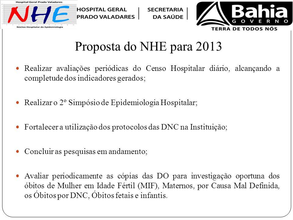 Proposta do NHE para 2013 Realizar avaliações periódicas do Censo Hospitalar diário, alcançando a completude dos indicadores gerados;