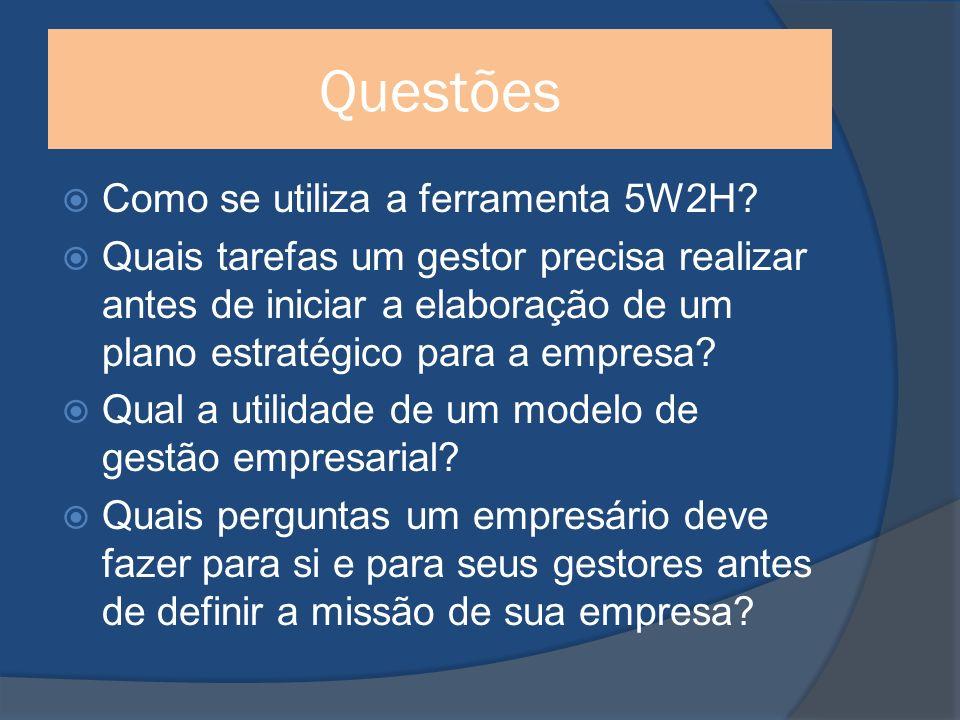 Questões Como se utiliza a ferramenta 5W2H