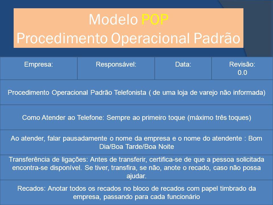 Modelo POP Procedimento Operacional Padrão