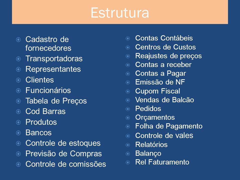 Estrutura Cadastro de fornecedores Transportadoras Representantes