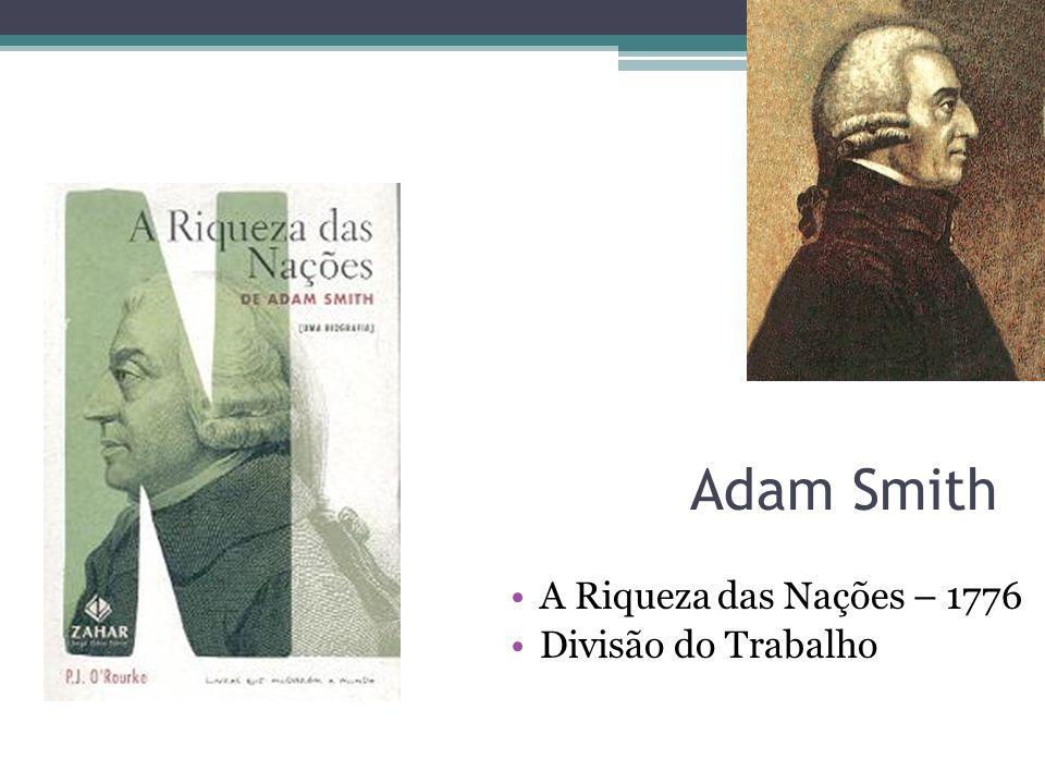Adam Smith A Riqueza das Nações – 1776 Divisão do Trabalho