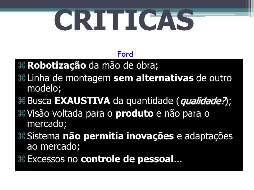 CRÍTICAS Robotização da mão de obra;