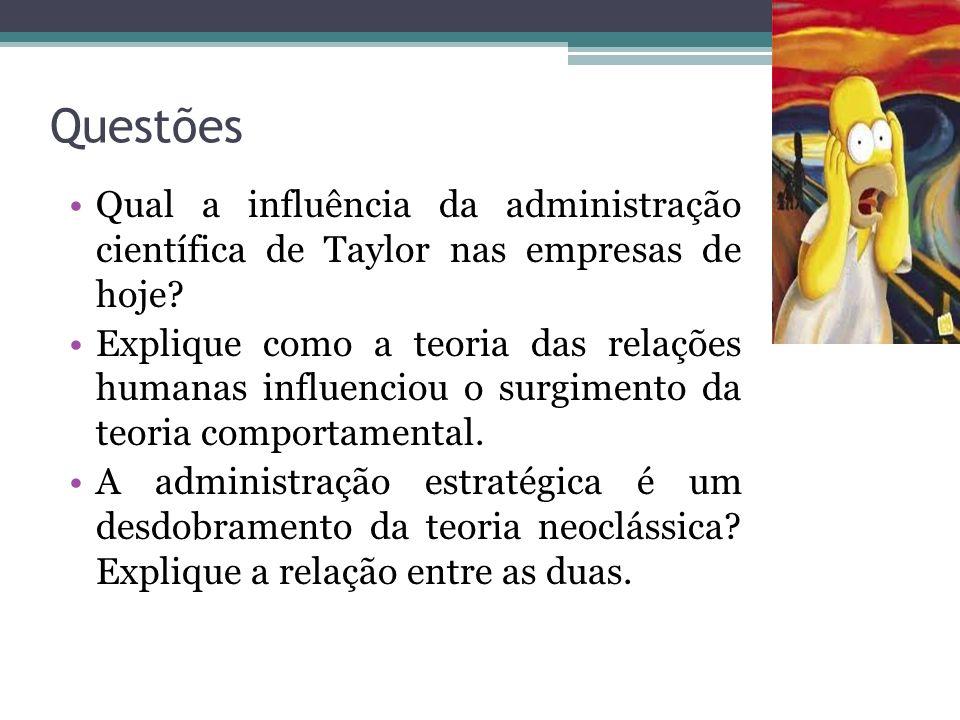 Questões Qual a influência da administração científica de Taylor nas empresas de hoje