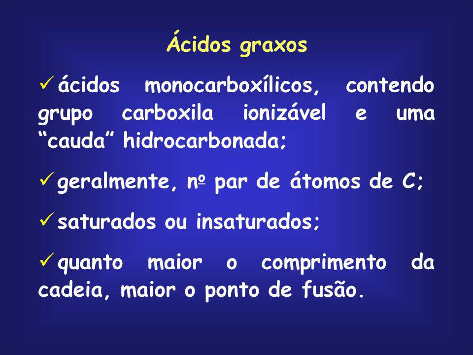 Ácidos graxos ácidos monocarboxílicos, contendo grupo carboxila ionizável e uma cauda hidrocarbonada;