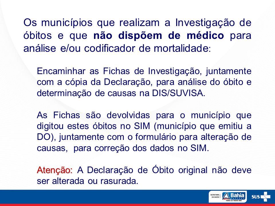 Os municípios que realizam a Investigação de óbitos e que não dispõem de médico para análise e/ou codificador de mortalidade:
