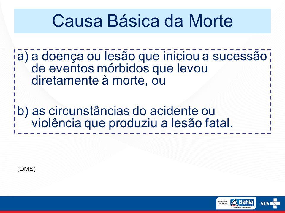 Causa Básica da Morte a) a doença ou lesão que iniciou a sucessão de eventos mórbidos que levou diretamente à morte, ou.