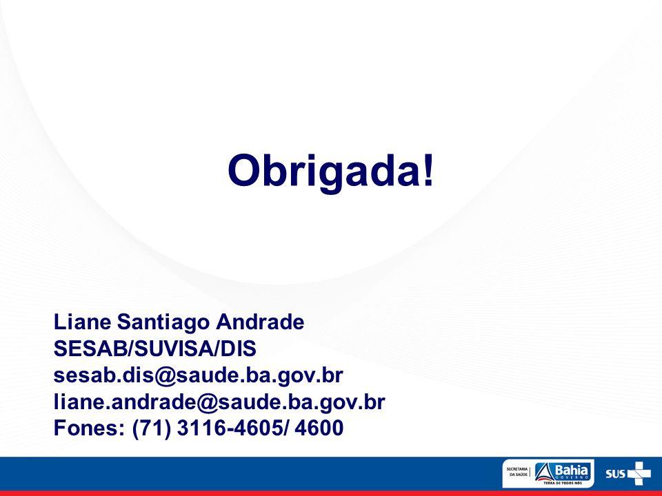 Obrigada! Liane Santiago Andrade SESAB/SUVISA/DIS