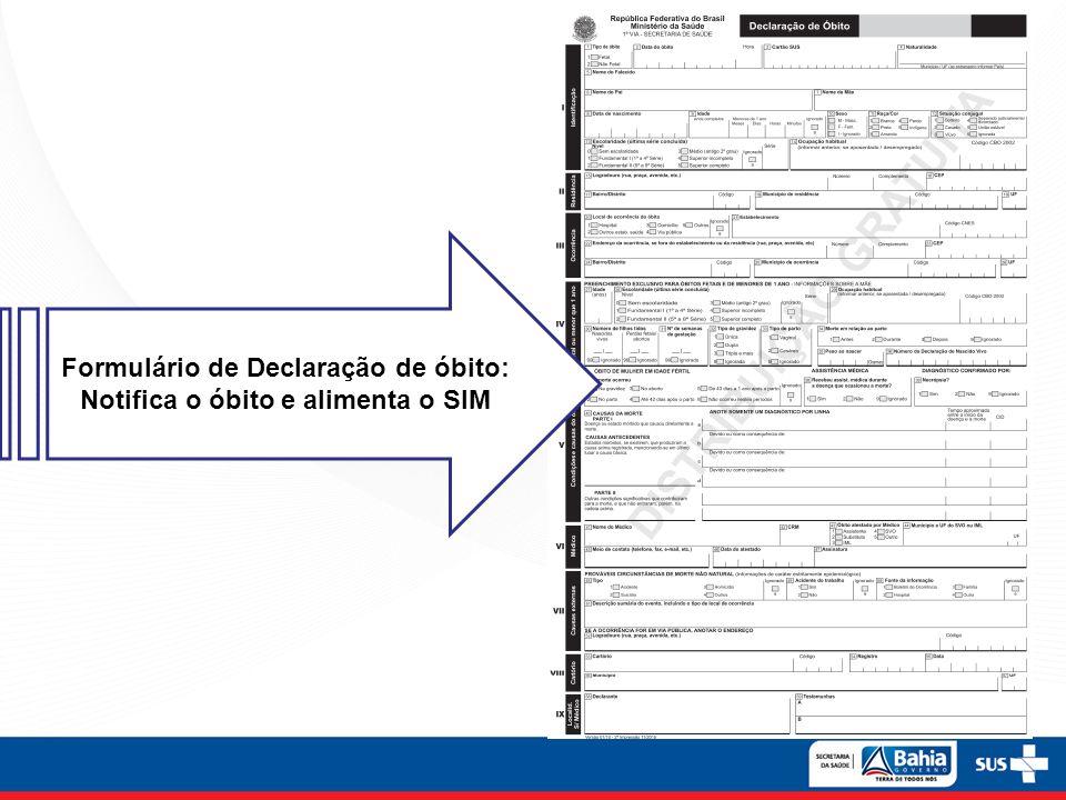 Formulário de Declaração de óbito: Notifica o óbito e alimenta o SIM