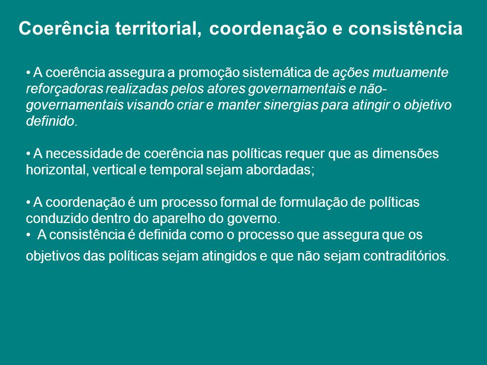 Coerência territorial, coordenação e consistência