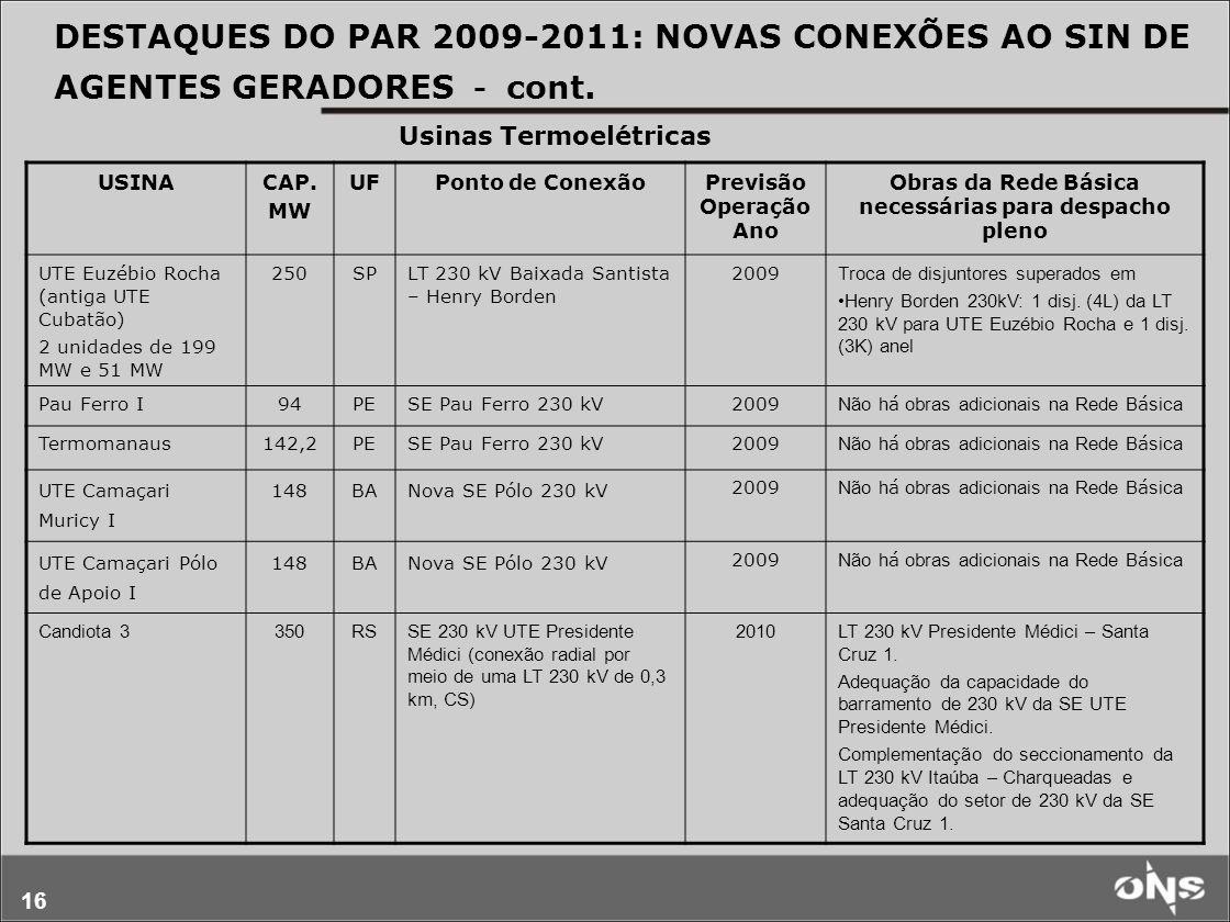 DESTAQUES DO PAR 2009-2011: NOVAS CONEXÕES AO SIN DE AGENTES GERADORES - cont.